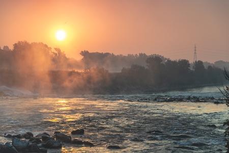 Sunrise over river Sava in zagreb, Croatia 免版税图像