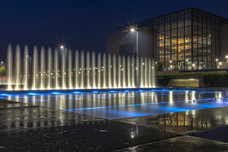 Fountains at night in Zagreb in Croatia Editorial