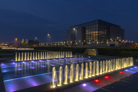 Fountains at night in Zagreb in Croatia Imagens