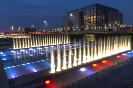 Fountains at night in Zagreb in Croatia Stock Photo