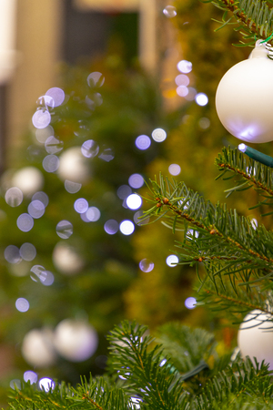 Christmas tree with white lights and wight balls Stock Photo