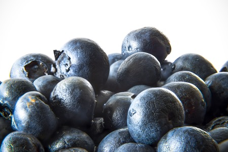 Group of blueberries on a white background