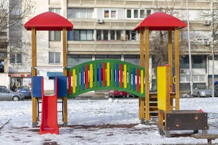 Empty playground in the public park in winter Stock Photo - 120219612