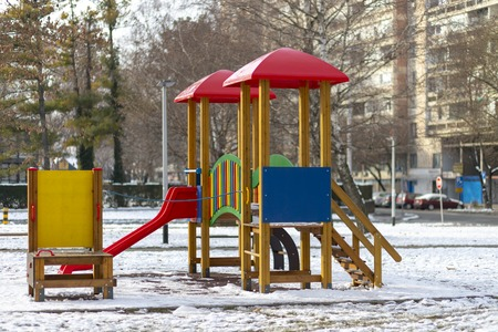 Empty playground in the public park in winter Stock Photo - 120219616