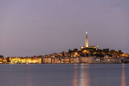 Night landscape of Rovigno town in Croatia