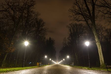 Promenade in Maksimir park at night in Zagreb, Croatia