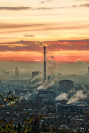 Heating plant silhouette at sunrise in Zagreb, Croatia