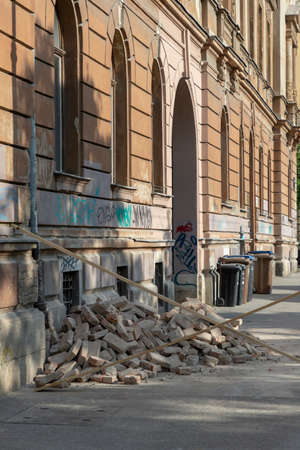 Fallen bricks from damaged building in earthquake in Zagreb Stock Photo