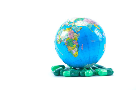 The sick globe cure by taking medicine  photo