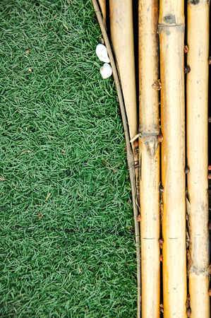 round rods: The bamboo is very useful plants and made the floor with the grass.