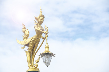 mythical: Mythical female bird with a human head. In Thailand this thing apear in the mythical story. Stock Photo
