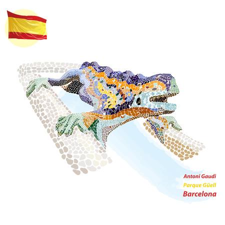 バルセロナの公園でモザイク噴水トカゲ  イラスト・ベクター素材
