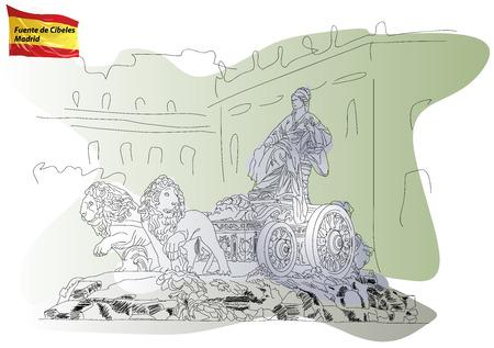 cibeles: Cibeles Fountain on the Square Cibeles in Madrid