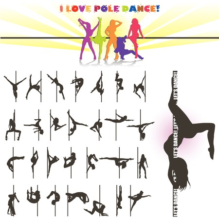 exotic woman: Vector silhouette of pole dancers