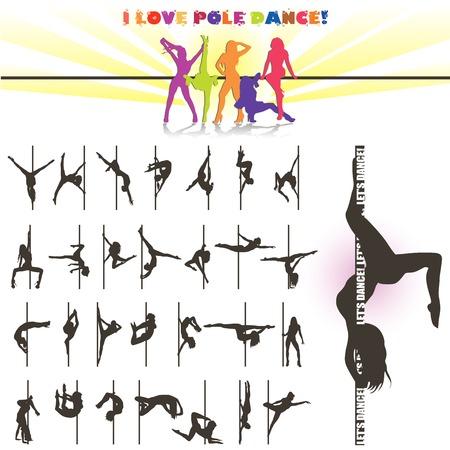 gente bailando: Vector silueta de bailarinas de barra Vectores