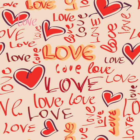 fon: Seamless background Love and hearts