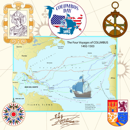 Clipart package to the Day of Columbus