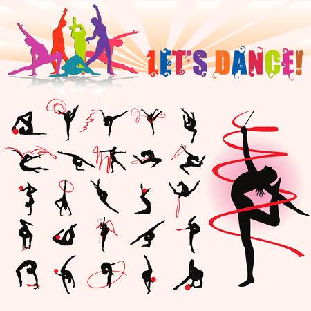 naughty girl: Vector silhouettes of artistic gymnastics with ball and ribbon