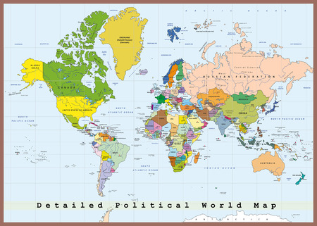 north: Detailed political world map with capitals Illustration