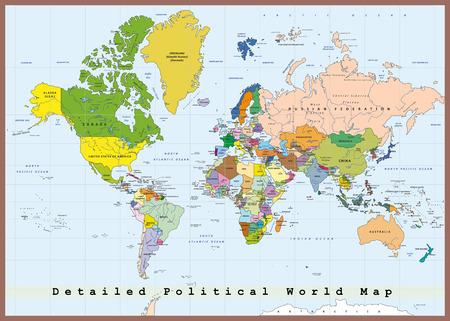 Detallado mapa político del mundo con capitales