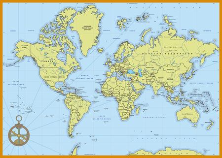 Altamente detallado mapa del mundo de la política con mayúsculas, ríos, capas separadas. Ilustración del vector. Vectores