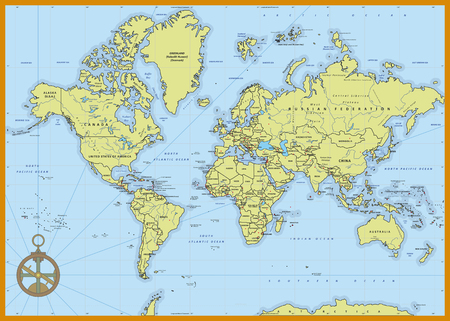 highly detailed: Highly detailed political world map with capitals, rivers,  separated layers. Vector illustration.