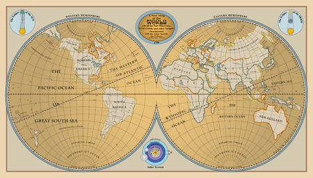 oceans: Vector of old globe, map of world with new discoveries of 1799 Illustration