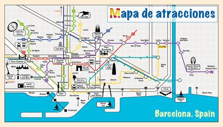 バルセロナへようこそ。マップ上の観光スポット。  イラスト・ベクター素材