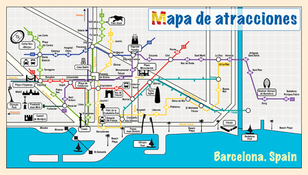touristic: Welcome to Barcelona. Attractions on map. Illustration