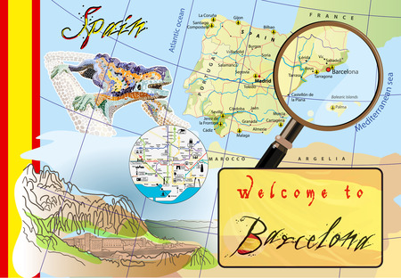 attractions: Welcome to Barcelona. Attractions on map. Illustration