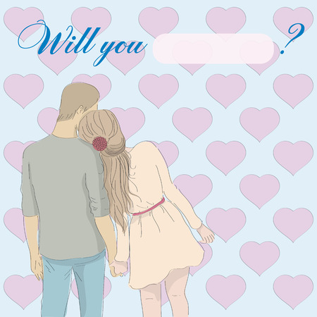 Greeting card: Will you marry me with couple Ilustracja