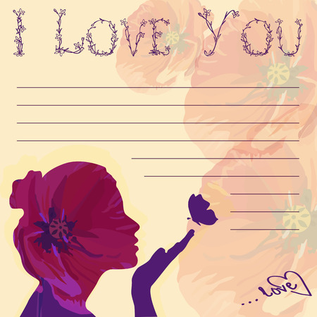 purple butterfly: Greeting card I love you! with girl Illustration