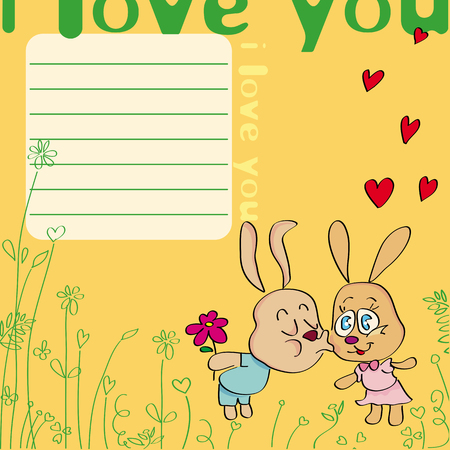 kissing: Greeting card I love you! with kissing rabbits