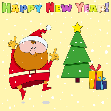 claus: Congratulation card Happy New Year Illustration