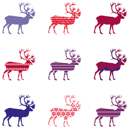 Christmas reindeer silhouette with ornament