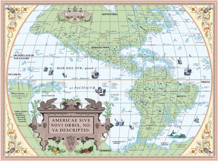 Vektor alte Karte von Süd- und Nordamerika