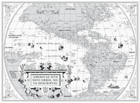south  america: Vector antiguo mapa de América del Sur y del Norte