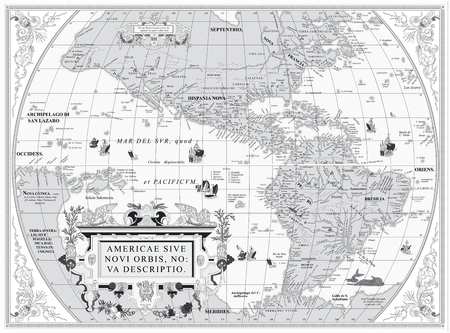 Vector old map of South and North America