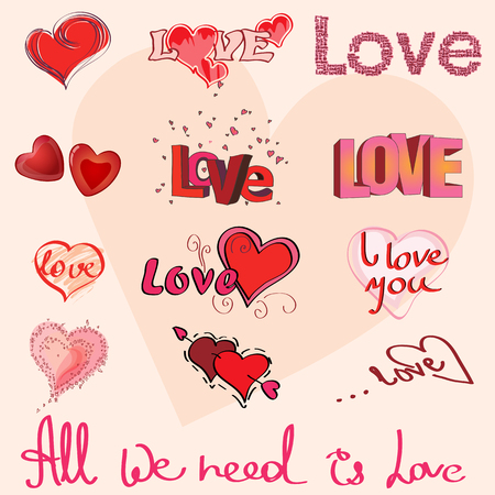 hand writing: Different hearts and hand writing of Love