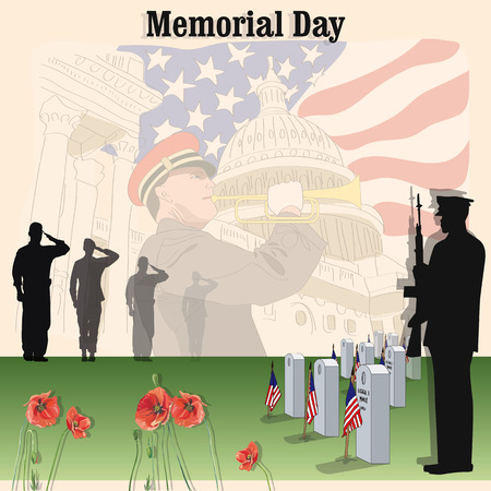 In Memory of Our Honored Dead - Memorial day 向量圖像