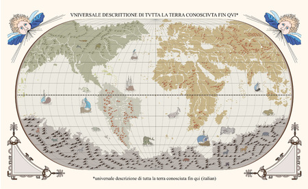 Vector of old globe with monsters and ships Ilustração