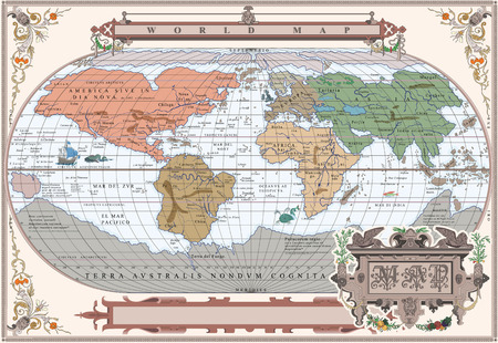 world design: Vector of old globe with water monsters in retro frame