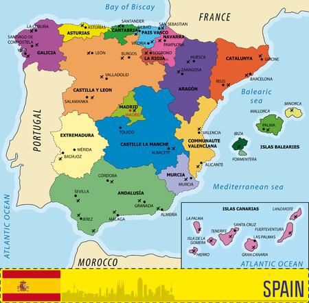 Gedetailleerde vector kaart van Spanje met alle regio's en met luchthavens