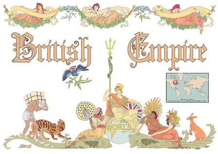 subjugation: Vector British Empire with map in vintage style