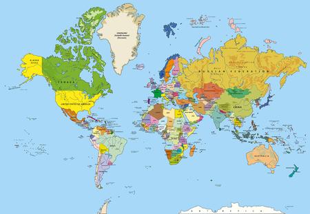 mapa politico: Muy detallado mapa del mundo de la política con mayúsculas, ríos, capas separadas. Ilustración del vector.