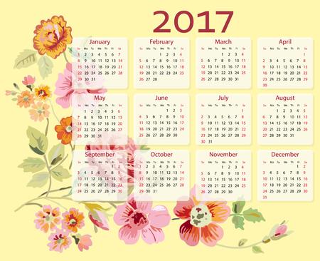 desk calendar: calendar 2017 year with flowers