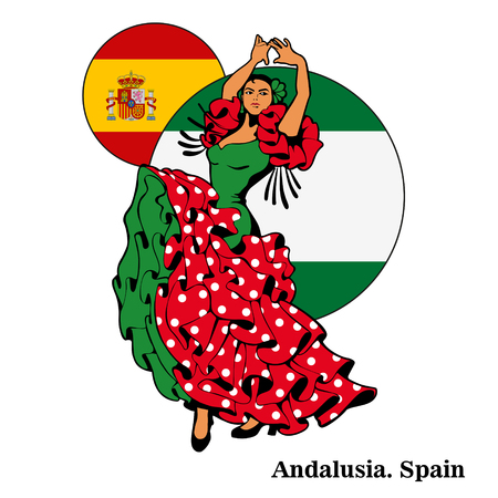 Flamenco in Andalusië, vrouw in dans. Stock Illustratie