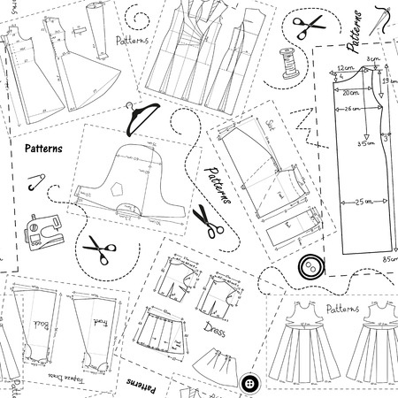 apparel part: Background with patterns of women clothes and elements of sewing. Illustration