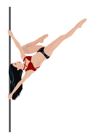 pole dance: Girl is doing element in pole dance
