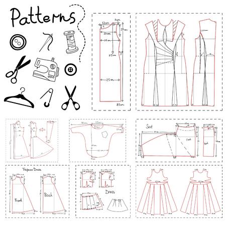 coser: Gran conjunto de patrones de ropa de mujer y elementos de costura.